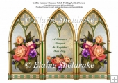 Triple Gothic Arch Folding Screen - Summer Bouquet