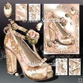 Beautiful Cream Vintage Shoes with Lace and Roses