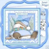 CHILL OUT SNOWMAN Christmas 7.5 Decoupage & Insert Mini Kit