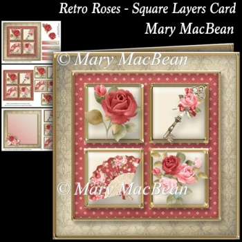 Retro Roses - Square Layers Card