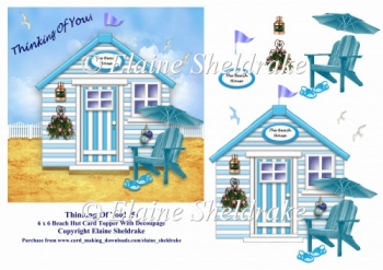 Thinking Of You Aqua Beach Hut 6 x 6 Card Topper & Decoupage