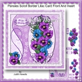 Pansies Scroll Border Lilac Card Front And Insert