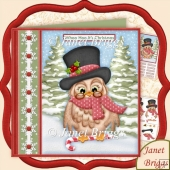 Christmas Top Hat Owl 7.5 Decoupage Kit
