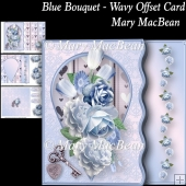 Blue Bouquet - Wavy Offset Card