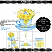Easter Daffodils Shaped Teacup Cradle Card