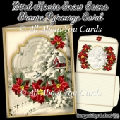 Bird House Snow Scene Frame Pyramage Card