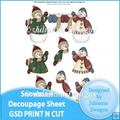 GSD Print n Cut Snowmen Decoupage Cutting File