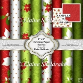 "8"" x 8"" Christmas Backing Papers - Set Two Christmas Floral"