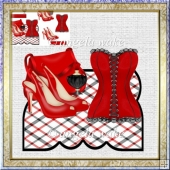 accessories in red over the edge card with decoupage
