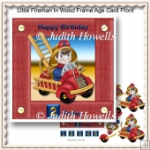Little Fireman In Wood Frame Age Card Front