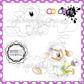 Flower for you Lamb and Sentiment Digital Stamps