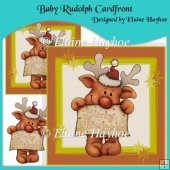 Baby Rudolph Cardfront with Decoupage