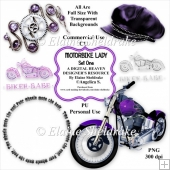 Motorbike Lady - Set One - Designer Resource - CU/PU
