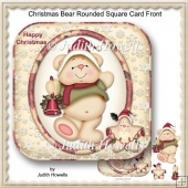 Christmas Bear Rounded Square Card Front