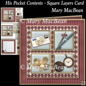 His Pocket Contents - Square Layers Card