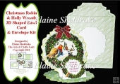 Christmas Robin - 3D Shaped Decoupage Easel Card & Envelope