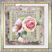 vintage rose card with decoupage