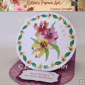 Lily Round Easel Card