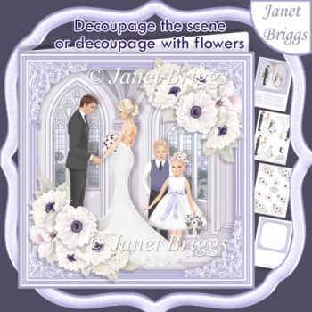 WEDDING BRIDE GROOM GROUP Lavender 7.5 Decoupage Card & Insert