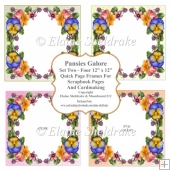 Pansies Galore - Four PNG Frames - 12 x 12 Quick Pages Set Two
