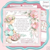 GIRL WITH FLOWER BASKET & VERSE 7.5 Decoupage & Insert Card Kit
