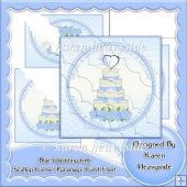Blue Wedding 6x6 Scallop Corner Pyramage Card Front