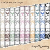 10 Vintage Farm Toile A4 Papers