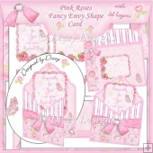 Pink Roses Fancy Envy Shape Card