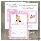 Girly Girl Birthday Party Invitation 4 - Front and Back Included