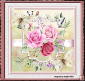 pink roses and butterfly 7x7 card
