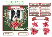 Christmas Poinsettias Watercolour Border Collie Puppy Dog