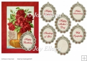 Red Roses in Vase Birthday Frame