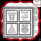 CHRISTMAS ICONS SQUARES BLACK 7.5 Quick Layer Cards & Insert Kit