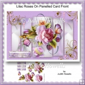 Lilac Roses On Panelled Card Front
