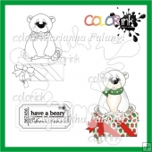 Beary christmas present and sentiment digi stamp