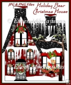 Holiday Bear Christmas House Clipart