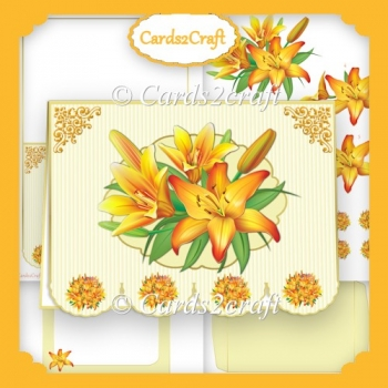 Yellow lily fancy bottom card set