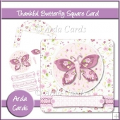 Thankful Butterfly Square Card