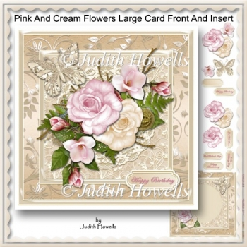 Pink And Cream Flowers Large Card Front And Insert