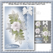 White Rose On Blue Damask Card Front