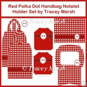Red Polka Dot Handbag Notelet Holder Set