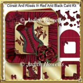 Corset And Roses In Red And Black Card Kit