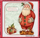 Santa Clause over the edge shaped card