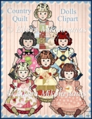 Country Quilt Dolls Clipart Collection