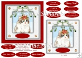 Christmas Cat (4) 6 x 6 Card Topper & Masses Of Greetings Tags