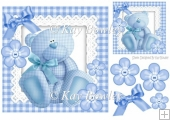 Cute little blue gingham bear with button & bows 8x8
