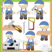Daddy's Little Helper Boy Blonde Clip Art