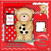 Chubby Cubby Red Football Bear Shaped Card