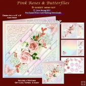 Pink Roses & Butteflies - 3-Sheet Mini-Kit