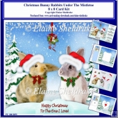 8 x 8 Christmas Bunny Rabbits Under The Mistletoe Card Kit
